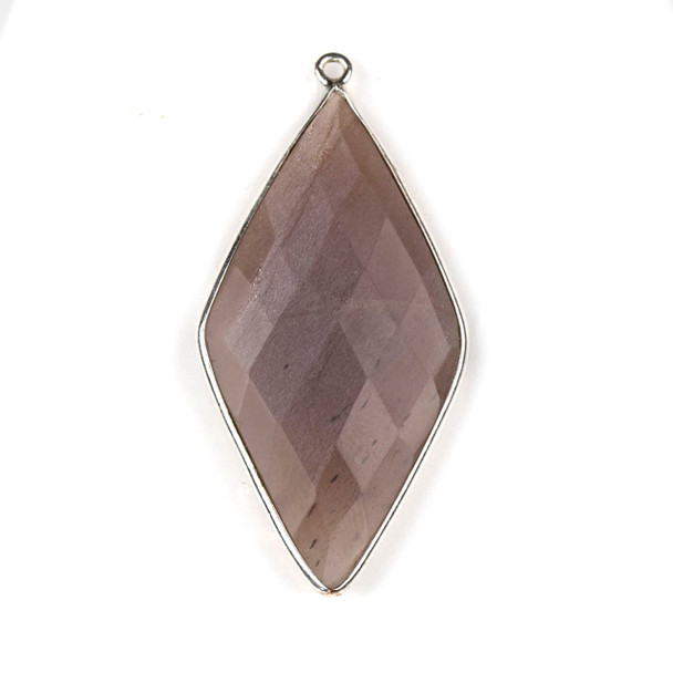 Mystic Moonstone approximately 21x44mm Diamond Drop with a Silver Plated Brass Bezel - 1 per bag