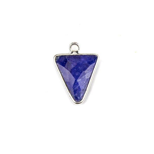 Sapphire approximately 14x20mm Small Triangle Drop with a Silver Plated Brass Bezel - 1 per bag