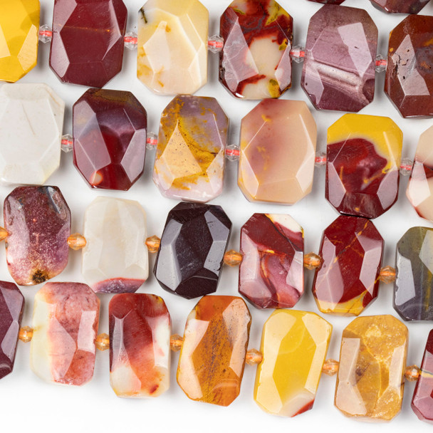 Mookaite 16x22mm Faceted Tablet Beads - 15 inch strand