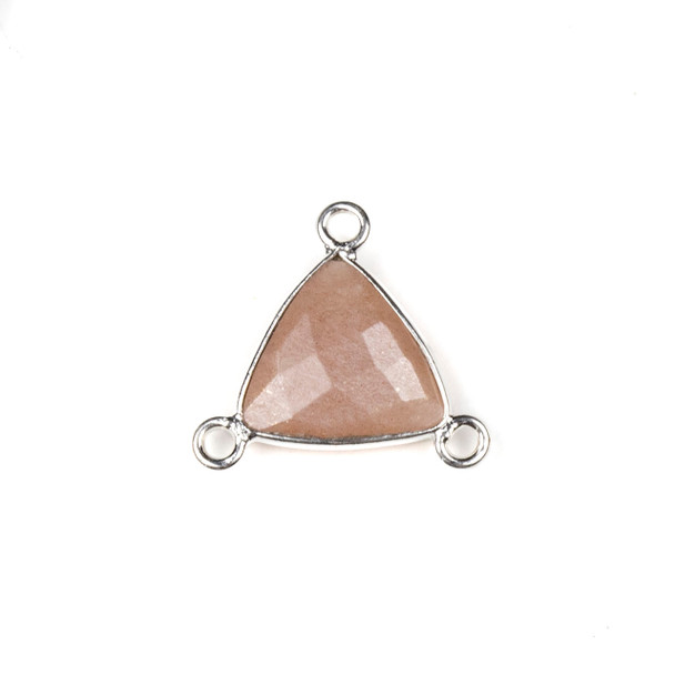 Mystic Moonstone 16x18mm Faceted Triangle Link with a Silver Plated Brass Bezel and 3 Loops - 1 per bag
