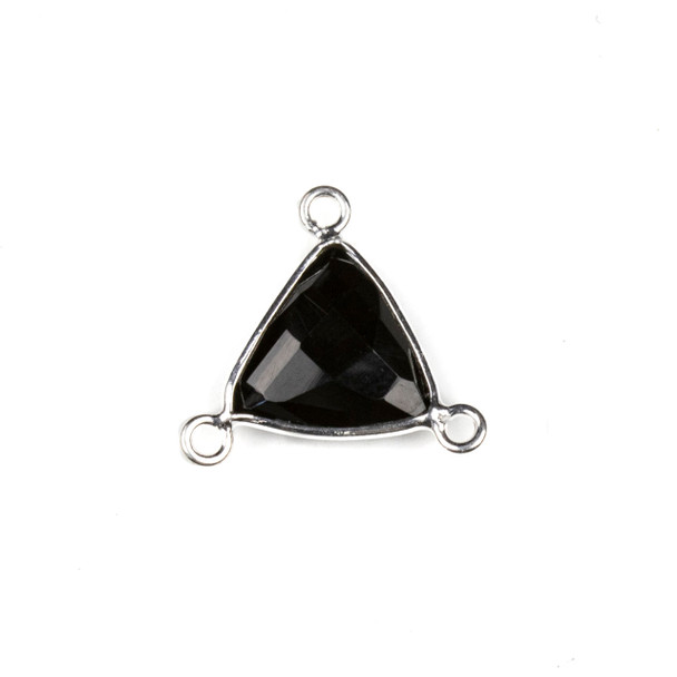 Onyx 16x18mm Faceted Triangle Link with a Silver Plated Brass Bezel and 3 Loops - 1 per bag
