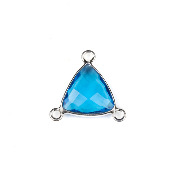 London Blue Quartz 16x18mm Faceted Triangle Link with a Silver Plated Brass Bezel and 3 Loops - 1 per bag