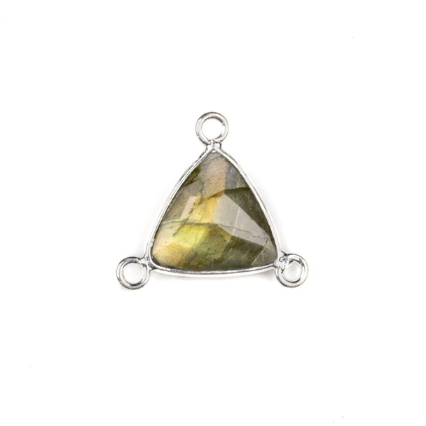 Labradorite 16x18mm Faceted Triangle Link with a Silver Plated Brass Bezel and 3 Loops - 1 per bag