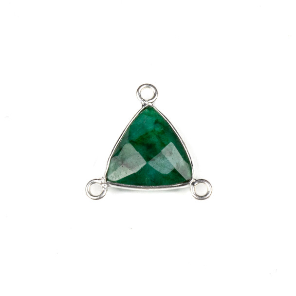 Emerald 16x18mm Faceted Triangle Link with a Silver Plated Brass Bezel and 3 Loops - 1 per bag
