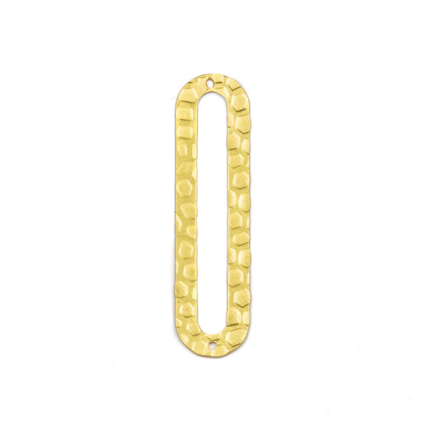 Coated Brass 12x46mm Textured Oval Paper Clip Link Components - 6 per bag - CTBPF-003c