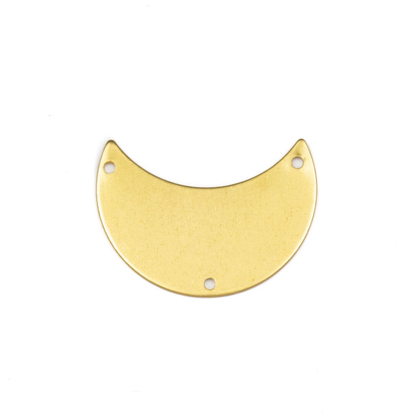 Coated Brass 20x29mm Waxing Crescent Moon Link Components with 3 holes - 6 per bag - CTBPF-009