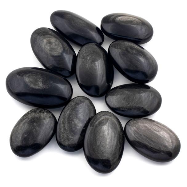Silver Obsidian Large Palm Stone - 1 per bag