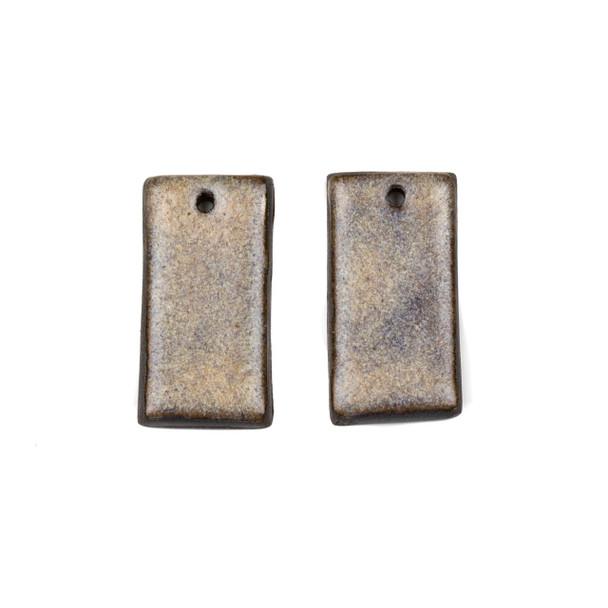 Handmade Ceramic 18x35mm Mountain Frost Rectangle Focals - 1 pair/2 pieces per bag