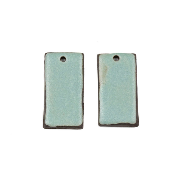 Handmade Ceramic 18x35mm Satin Turquoise Rectangle Focals - 1 pair/2 pieces per bag