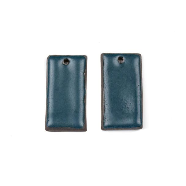 Handmade Ceramic 18x35mm Satin Dark Teal Rectangle Focals - 1 pair/2 pieces per bag