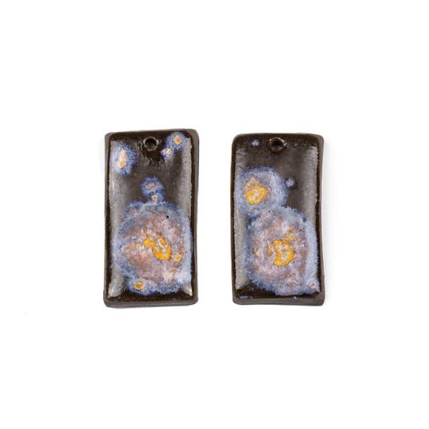 Handmade Ceramic 18x35mm Galaxy Rectangle Focals - 1 pair/2 pieces per bag
