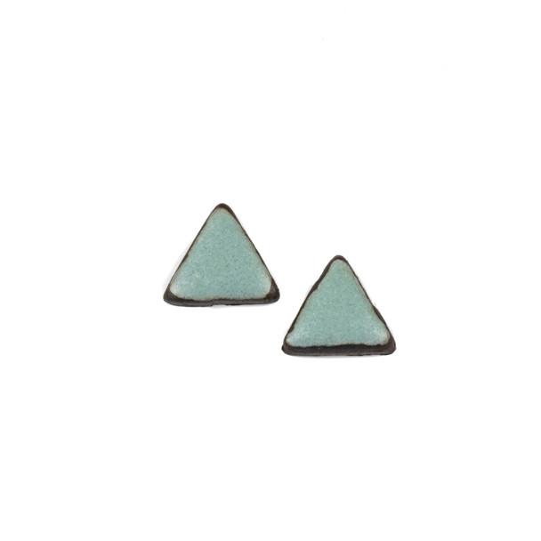 Handmade Ceramic 18x35mm Satin Turquoise Triangle Cabochons - 1 pair/2 pieces per bag