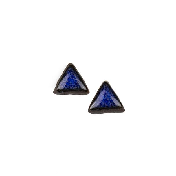 Handmade Ceramic 18x35mm Blue Surf Triangle Cabochons - 1 pair/2 pieces per bag