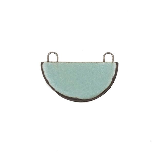 Handmade Ceramic 22x34mm Satin Turquoise Half Circle Focal Pendant - 1 per bag