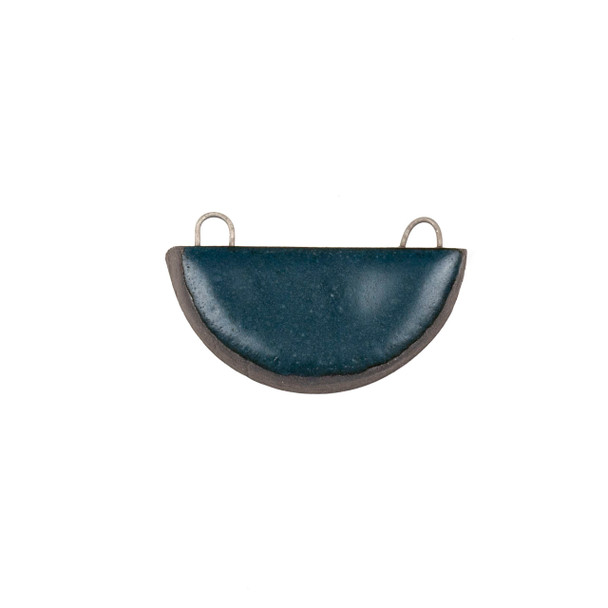 Handmade Ceramic 22x34mm Satin Dark Teal Half Circle Focal Pendant - 1 per bag
