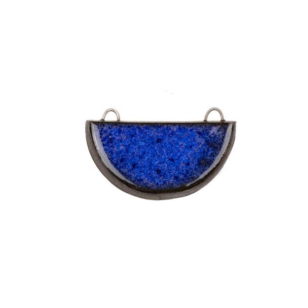 Handmade Ceramic 22x34mm Blue Surf Half Circle Focal Pendant - 1 per bag
