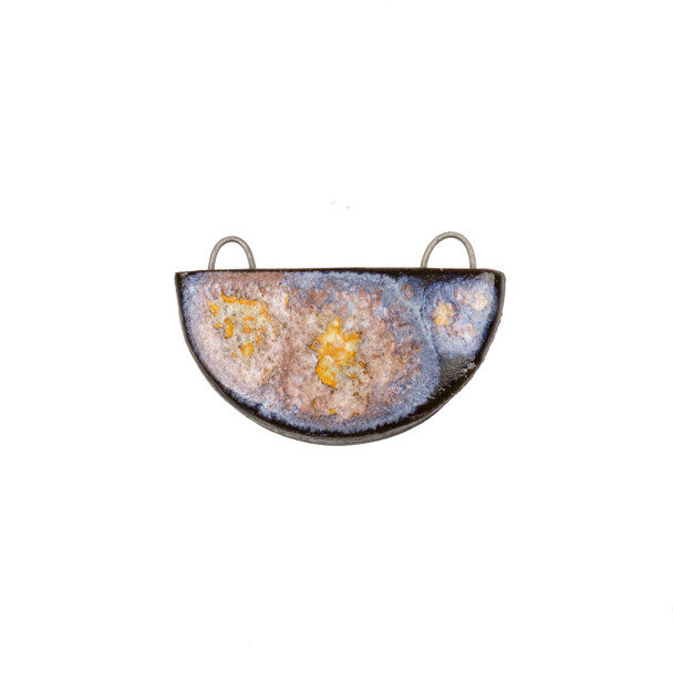 Handmade Ceramic 22x34mm Galaxy Half Circle Focal Pendant - 1 per bag