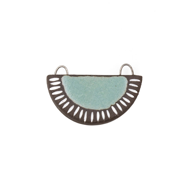 Handmade Ceramic 22x34mm Satin Turquoise Carved Half Circle Focal Pendant - 1 per bag