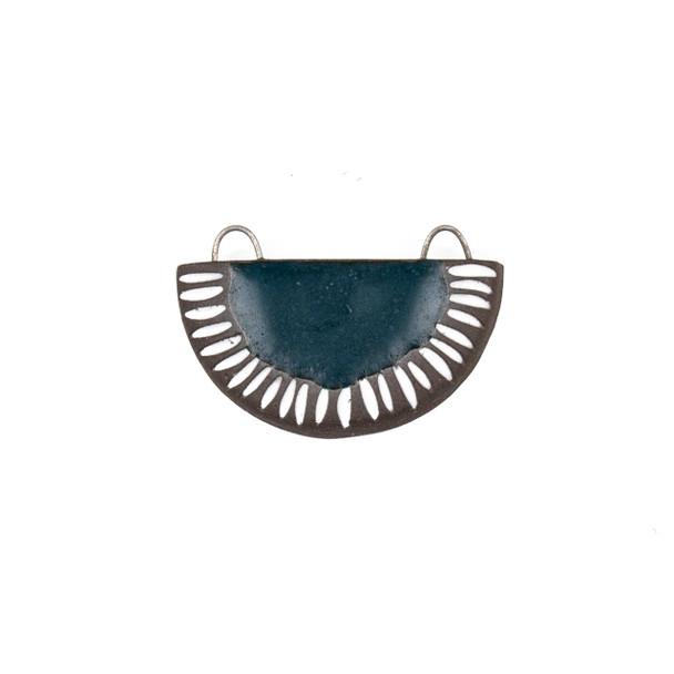 Handmade Ceramic 22x34mm Satin Dark Teal Carved Half Circle Focal Pendant - 1 per bag