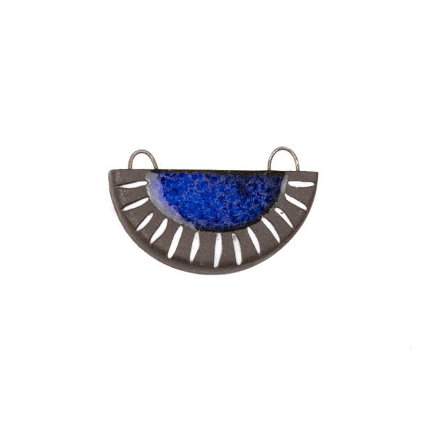 Handmade Ceramic 22x34mm Blue Surf Carved Half Circle Focal Pendant - 1 per bag