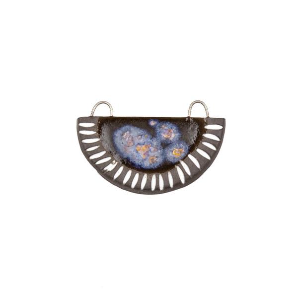 Handmade Ceramic 22x34mm Galaxy Carved Half Circle Focal Pendant - 1 per bag