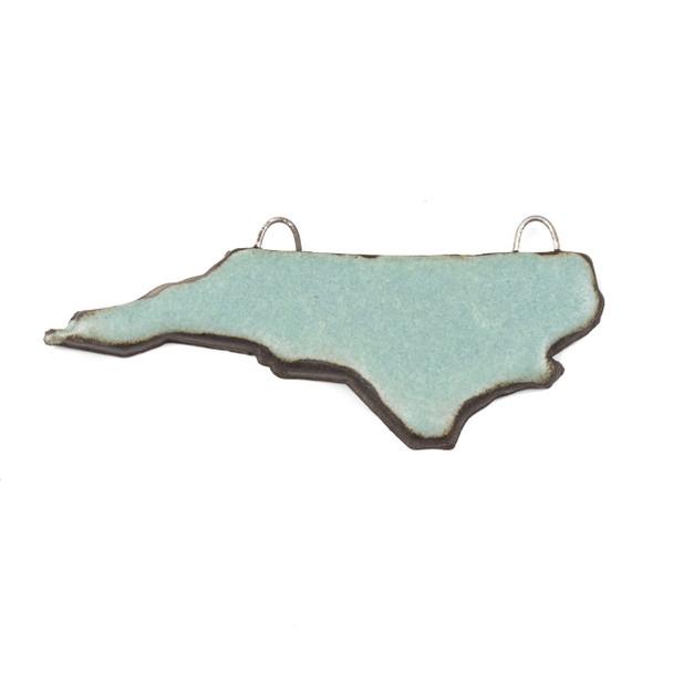 Handmade Ceramic 24x60mm Satin Turquoise North Carolina State Focal Pendant - 1 per bag
