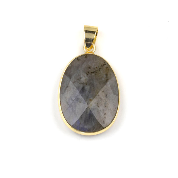 Labradorite 17x26mm Oval Pendant Drop with a Brass Plated Base Metal Bezel and 7mm Bail - 1 per bag