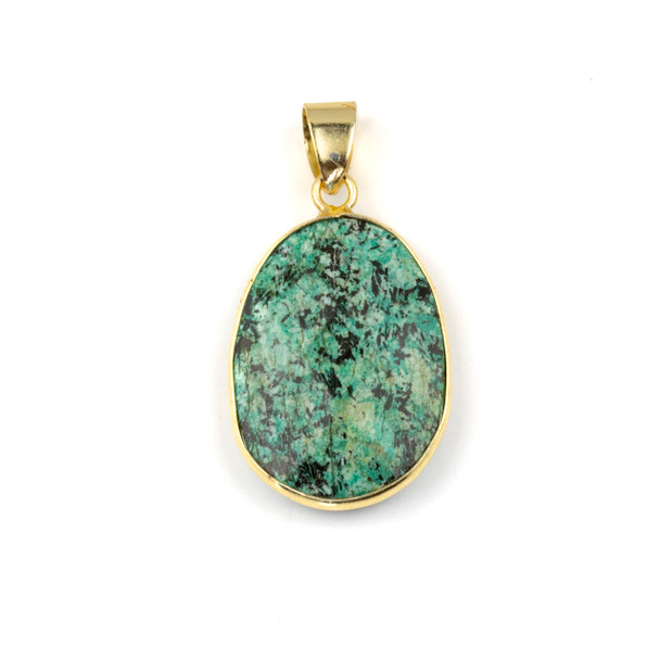 African Turquoise 17x26mm Oval Pendant Drop with a Brass Plated Base Metal Bezel and 7mm Bail - 1 per bag