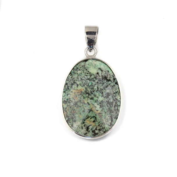 African Turquoise 17x26mm Oval Pendant Drop with a Silver Plated Brass Bezel and 7mm Bail - 1 per bag