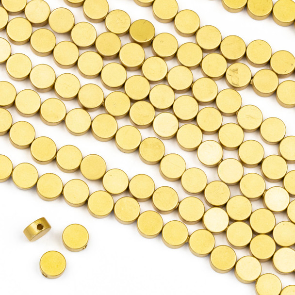 Coated Brass 6mm Full Moon Beads - approx. 8 inch strand