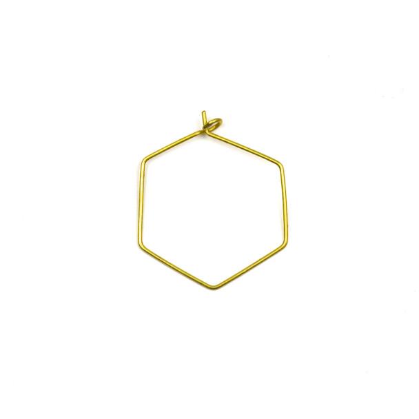 Coated Brass 25x30mm Hexagonal Hoop Ear Wires - 4 pcs per bag - WR00423c
