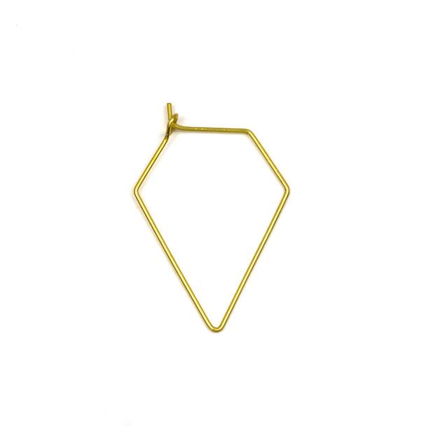 Coated Brass 23x35mm Diamond Shaped Hoop Ear Wires - 4 pcs per bag - WR00437c