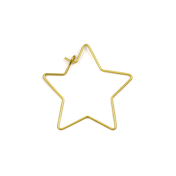 Coated Brass 32x35mm Star Shaped Hoop Ear Wires - 4 pcs per bag - WR00423c