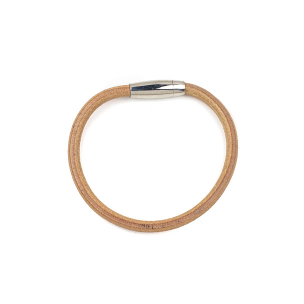 Round Leather Bracelet - Natural Tan, 5mm, 8 inch, Stainless Steel Magnetic Clasp