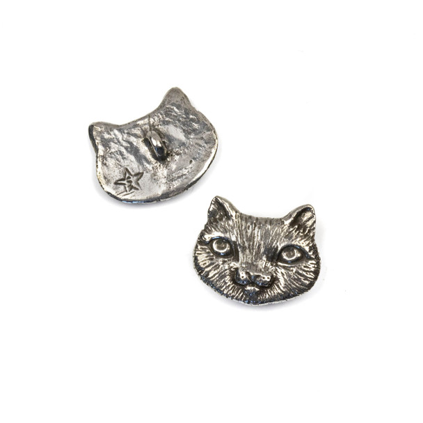 Green Girl Studios Pewter 18x22mm Cute Cat Face Button - 1 per bag