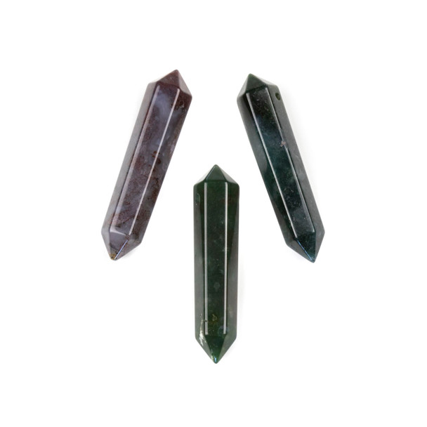 Fancy Agate 8x40mm Top Drilled Double Terminated Hexagonal Point Pendant - 1 per bag