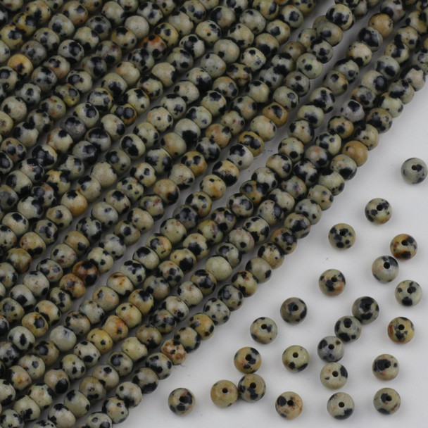 Dalmatian Jasper 4x6mm Rondelle Beads - approx. 8 inch strand, Set A