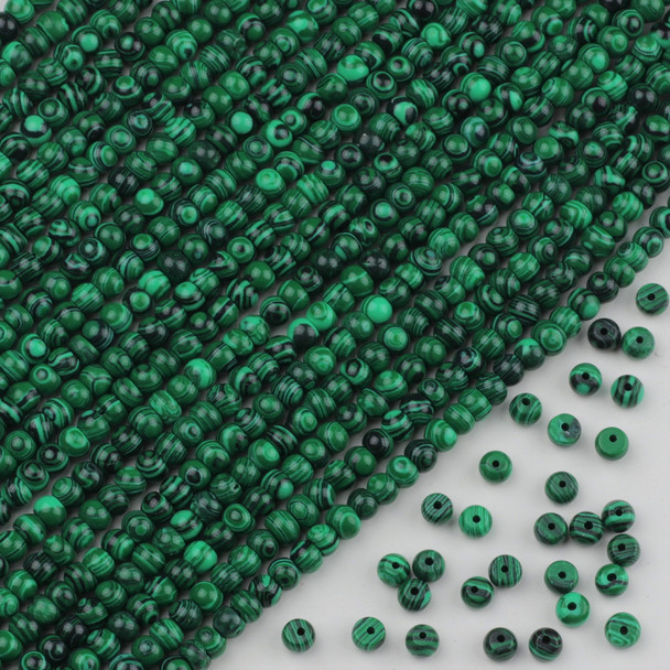 Synthetic Malachite 4x6mm Rondelle Beads - approx. 8 inch strand, Set A