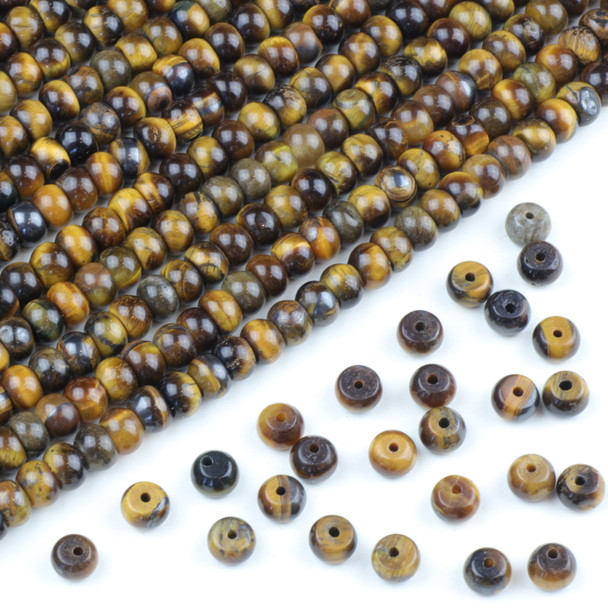 Yellow Tigereye 4x6mm Rondelle Beads - approx. 8 inch strand, Set A