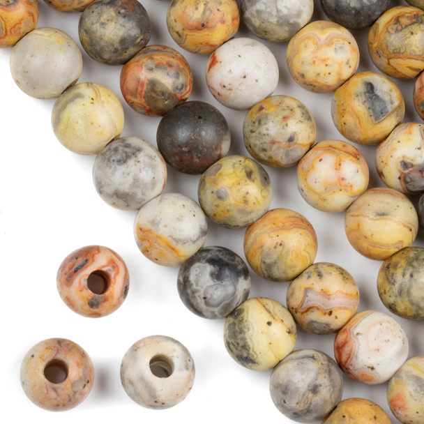 Matte Large Hole Crazy Lace Agate 12mm Round with 4mm Drilled Hole - approx. 8 inch strand