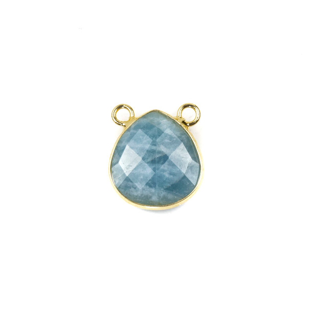 Aquamarine 15x16mm Faceted Teardrop Pendant Drop with with a Brass Plated Base Metal Bezel - 1 per bag