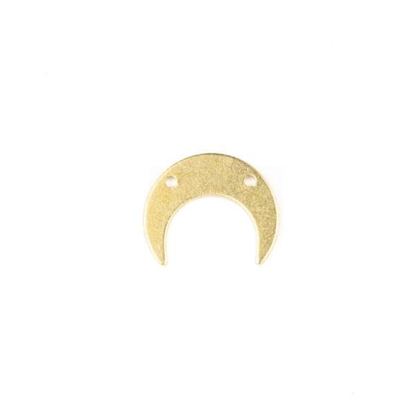 Raw Brass 13x16mm Horizontal Crescent Moon Drop Components with 2 holes - 6 per bag - CG00075