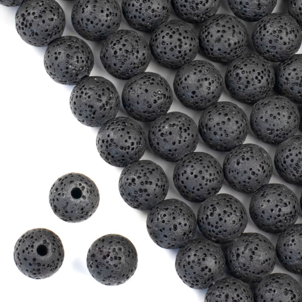 Large Hole Waxed Black Lava 12mm Round Beads with a 2.5mm Drilled Hole - approx. 8 inch strand