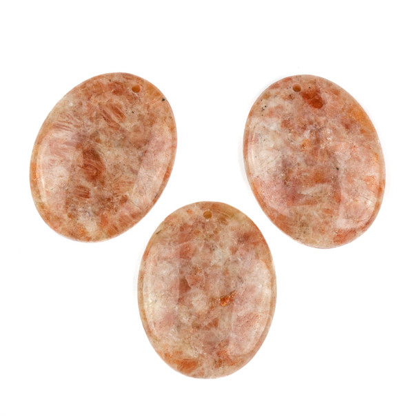 Sunstone 35x45mm Top Front to Back Drilled Oval Pendant with a Flat Back - 1 per bag