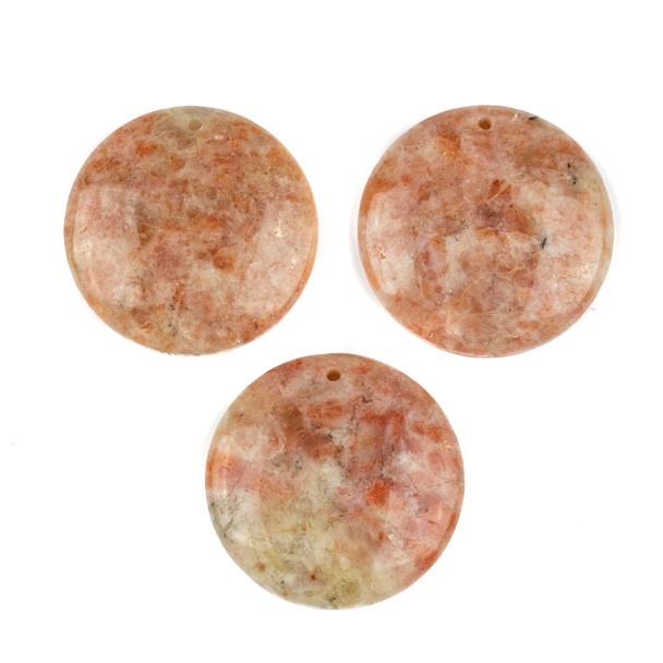 Sunstone 40mm Top Front to Back Drilled Coin Pendant with a Flat Back - 1 per bag