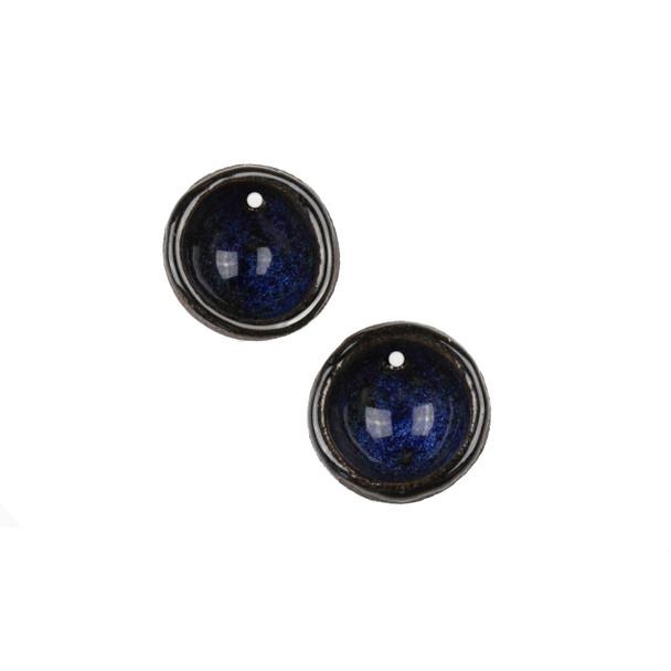 Handmade Ceramic 20mm Midnight Blue Cupped Disc Focals - 1 pair/2 pieces per bag
