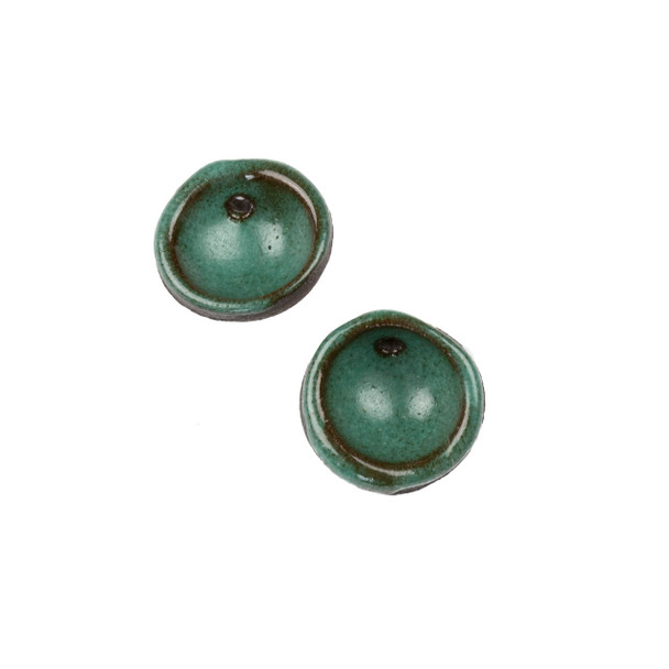 Handmade Ceramic 20mm Deep Turqquoise Cupped Disc Focals - 1 pair/2 pieces per bag