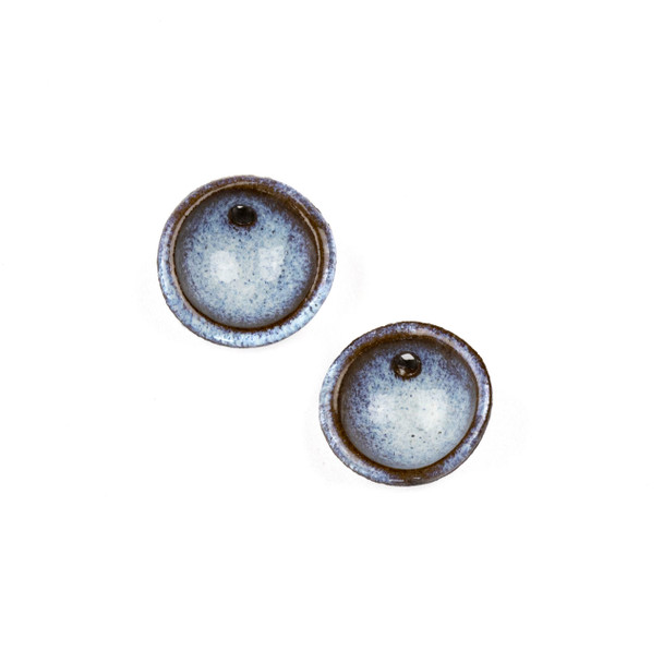 Handmade Ceramic 20mm Blue Mountain Frost Cupped Disc Focals - 1 pair/2 pieces per bag