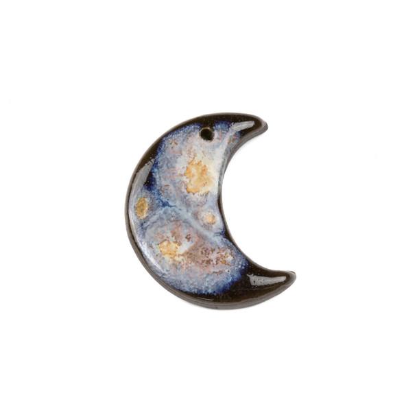 Handmade Ceramic 27x33mm Galaxy Crescent Moon Focal - 1 per bag