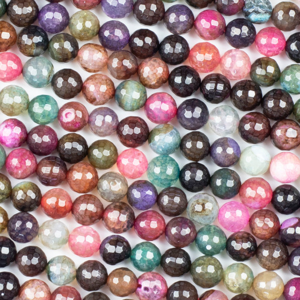 Cracked Agate 8mm Faceted Rounds in a Dark Jewel Tone Mix - 15.5 inch strand